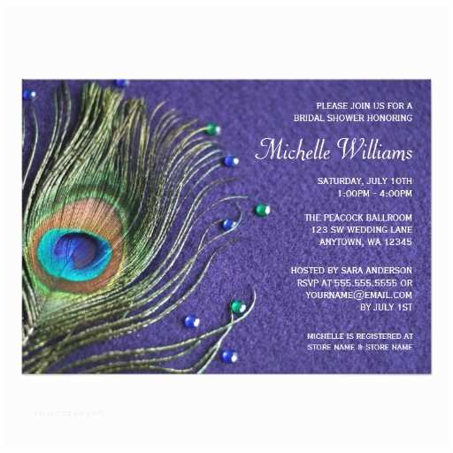Peacock Wedding Shower Invitations Peacock Feather Jewels Purple Bridal Shower Card