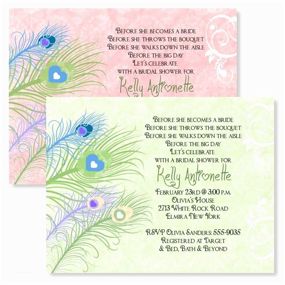Peacock Wedding Shower Invitations Peacock Personalized Bridal Shower Invitations Wedding