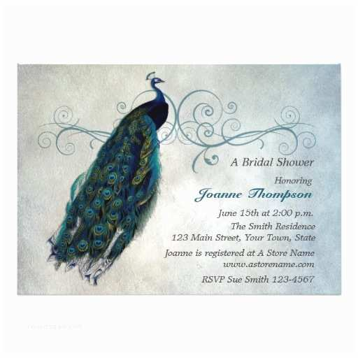 Peacock Wedding Shower Invitations Peacock Scroll Bridal Shower Invitation