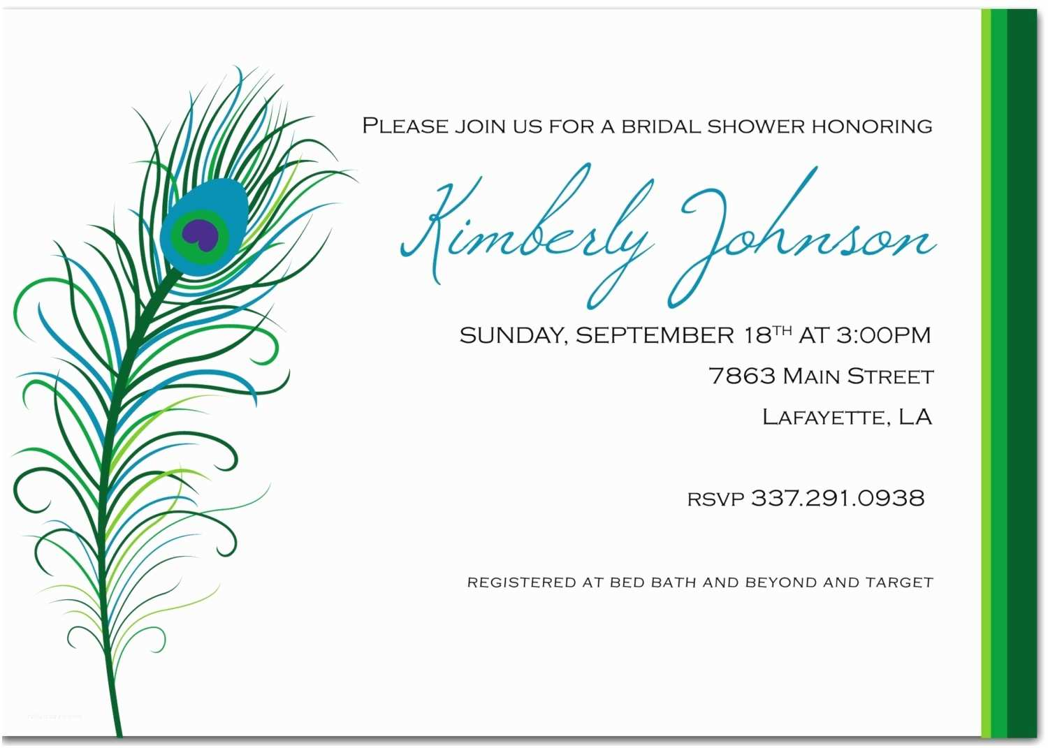 Peacock Wedding Shower Invitations Peacock themed Wedding Invitations Template
