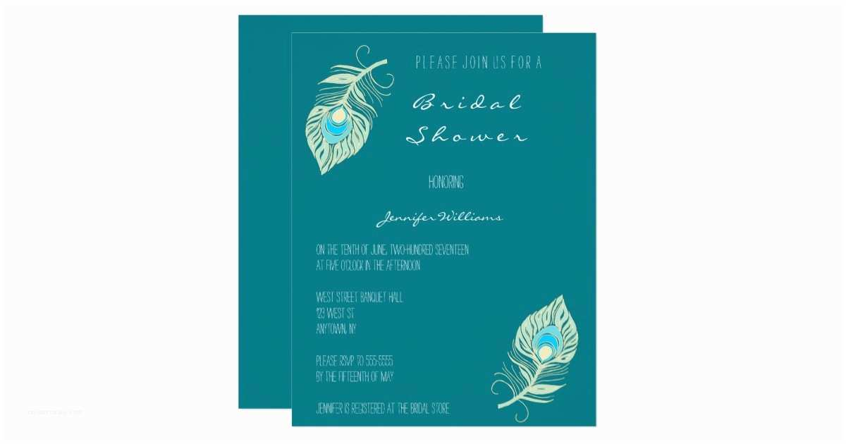Peacock Wedding Shower Invitations Teal Peacock Feather Bridal Shower Invitations