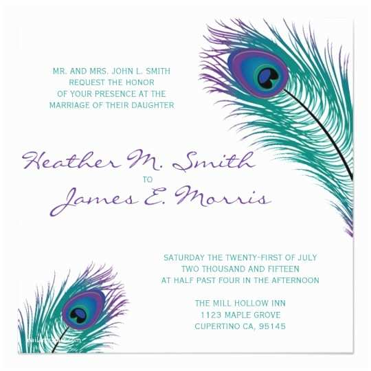 Peacock Wedding Shower Invitations the Classy Peacock Wedding Invitation
