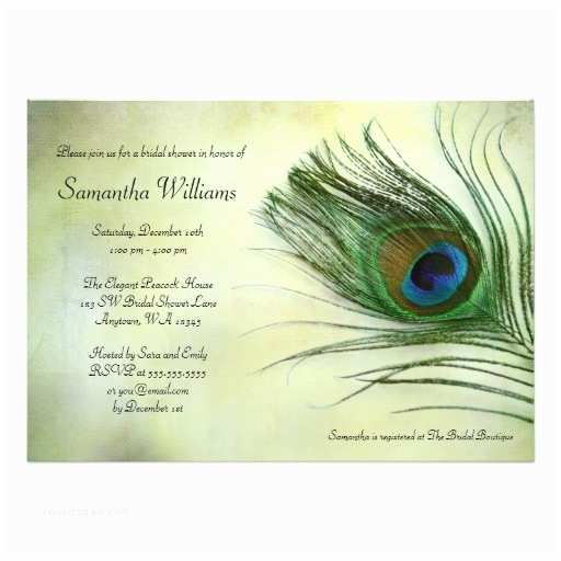 Peacock Wedding Shower Invitations Vintage Peacock Feather Bridal Shower Invitations