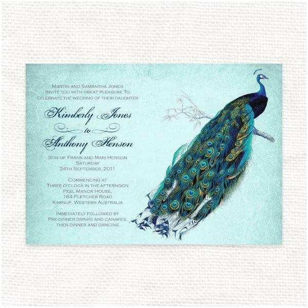 Peacock Wedding Shower Invitations Vintage Peacock Wedding Invitation Printable Diy Wedding