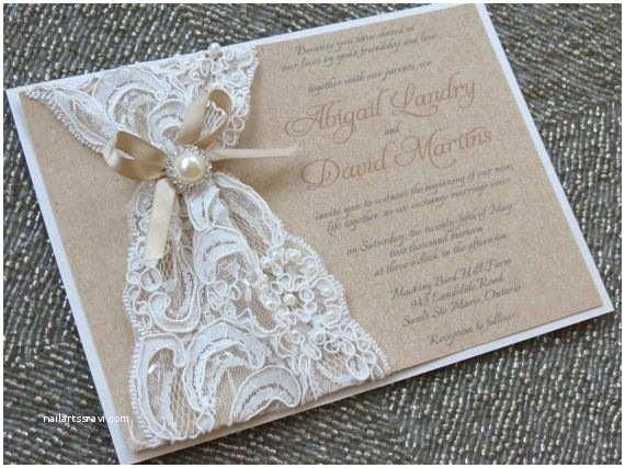 Pearl Wedding Invitations Abigail Burlap and Lace Wedding Invitation Kraft Bridal