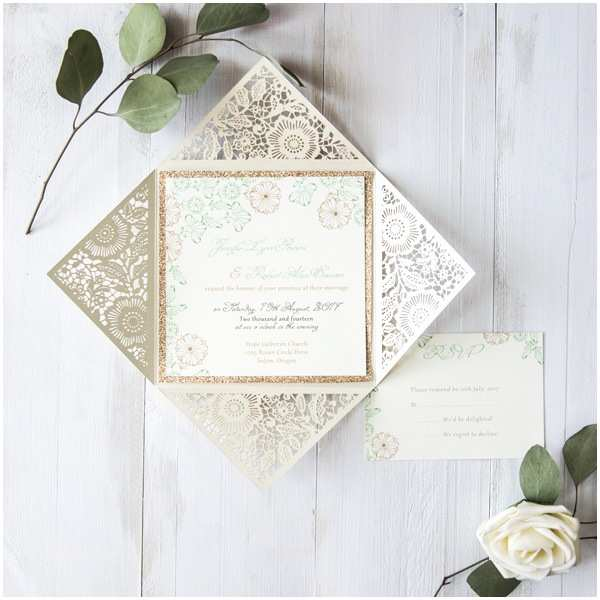 Pearl Wedding Invitations Affordable Pearl White Floral Laser Cut Wedding Invitation