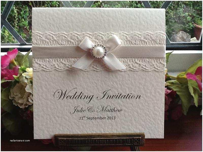 Pearl Wedding Invitations E0012 Ivory Lace Square Wedding Invitation Pearl Diamante