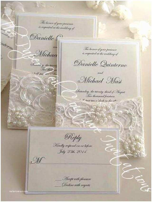 Pearl Wedding Invitations Gia Vintage Pearl and Sequin Lace Couture Panel Pocket