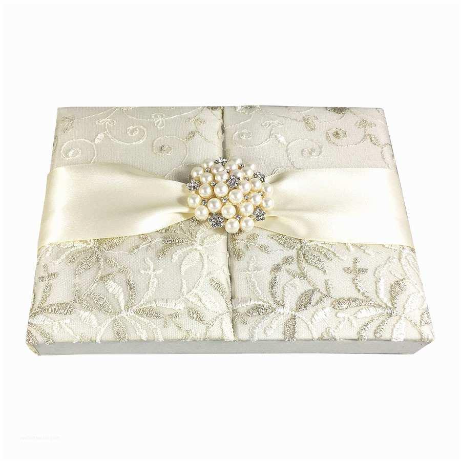 Pearl Wedding Invitations Lace Wedding Invitations & Ivory Gatefold Box with