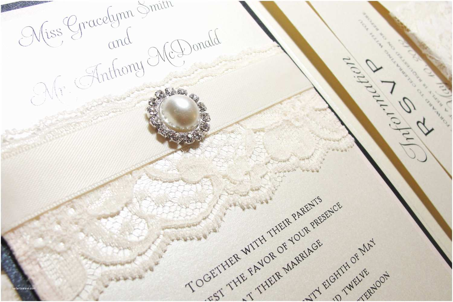 Pearl Wedding Invitations Traditional Elegant Wedding Invitations with Lace Pearls