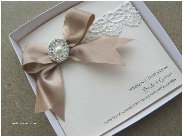 Pearl Wedding Invitations Vintage Lace Wedding Invitation with Satin & Pearls with