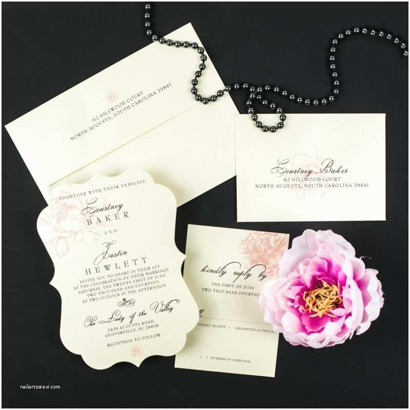 Peony Wedding Invitation Blush Peony Wedding Invitations too Chic & Little Shab