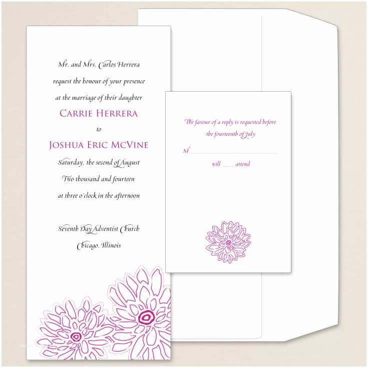 Peony Wedding Invitation Contemporary Peony Wedding Invitation