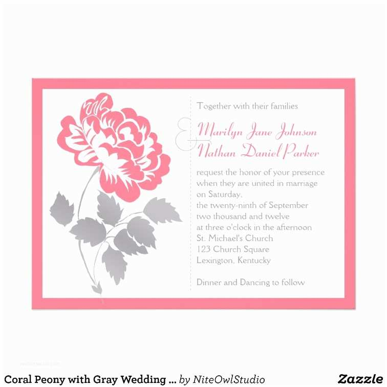 Peony Wedding Invitation Coral Peony with Gray Wedding Invitation