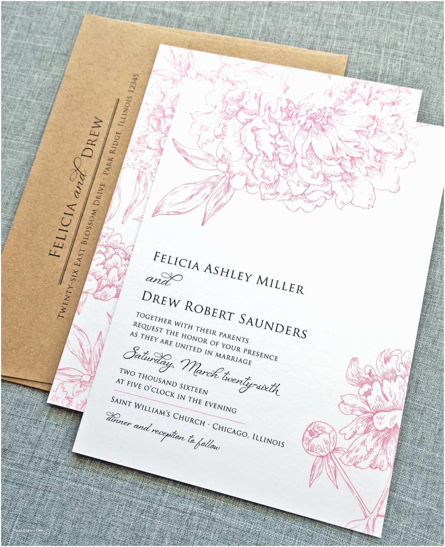 Peony Wedding Invitation Felicia Pink Peony Flower Wedding Invitation Sample Recycled
