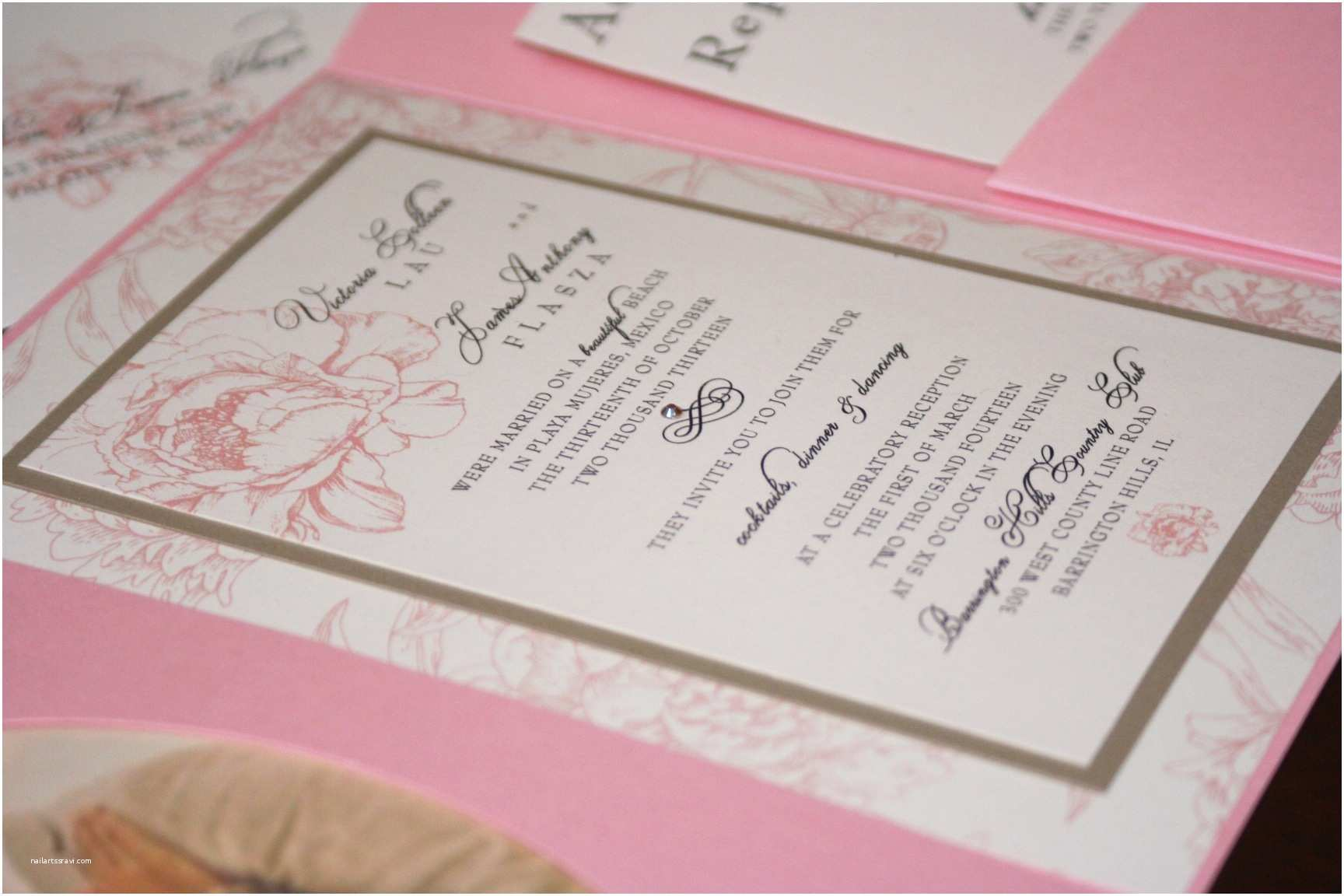 Peony Wedding Invitation Note Of Thanks too Chic & Little Shab Design Studio Inc