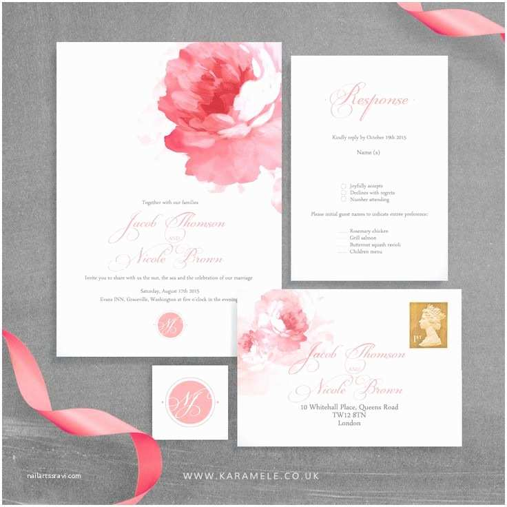 Peony Wedding Invitation Painted Peony Wedding Invitation and Rsvp Postcard
