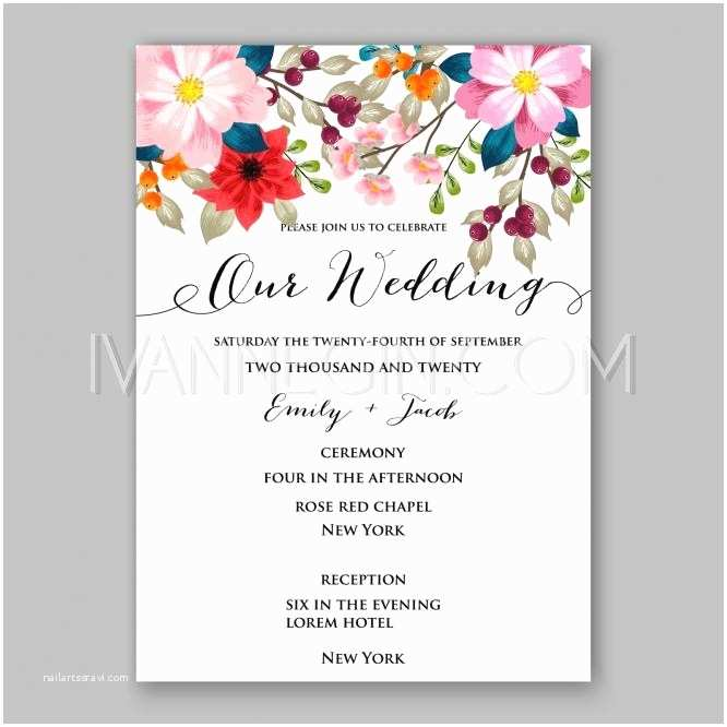 Peony Wedding Invitation Peony Wedding Invitation Card Floral Printable Template