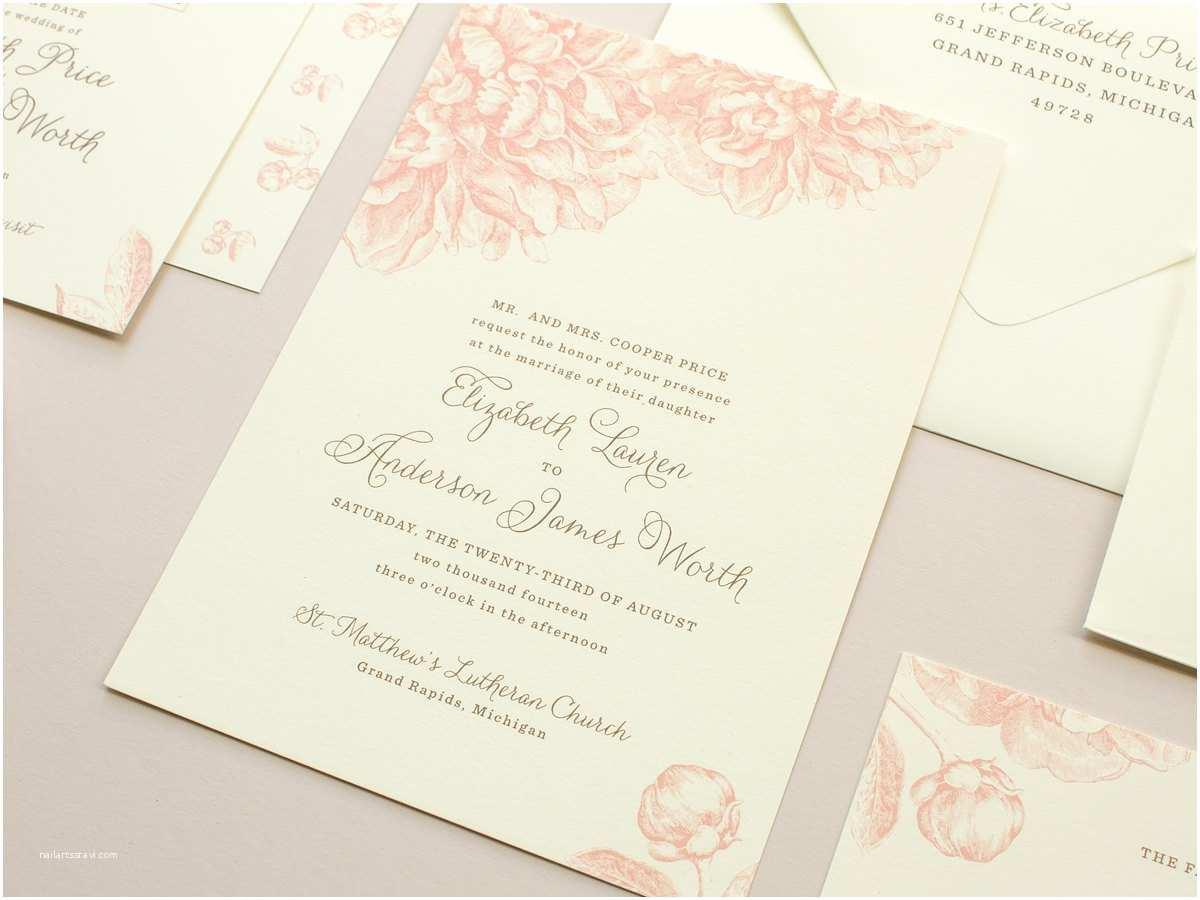 Peony Wedding Invitation Pink Peonies Wedding Invitation Vintage Flowers Illustration