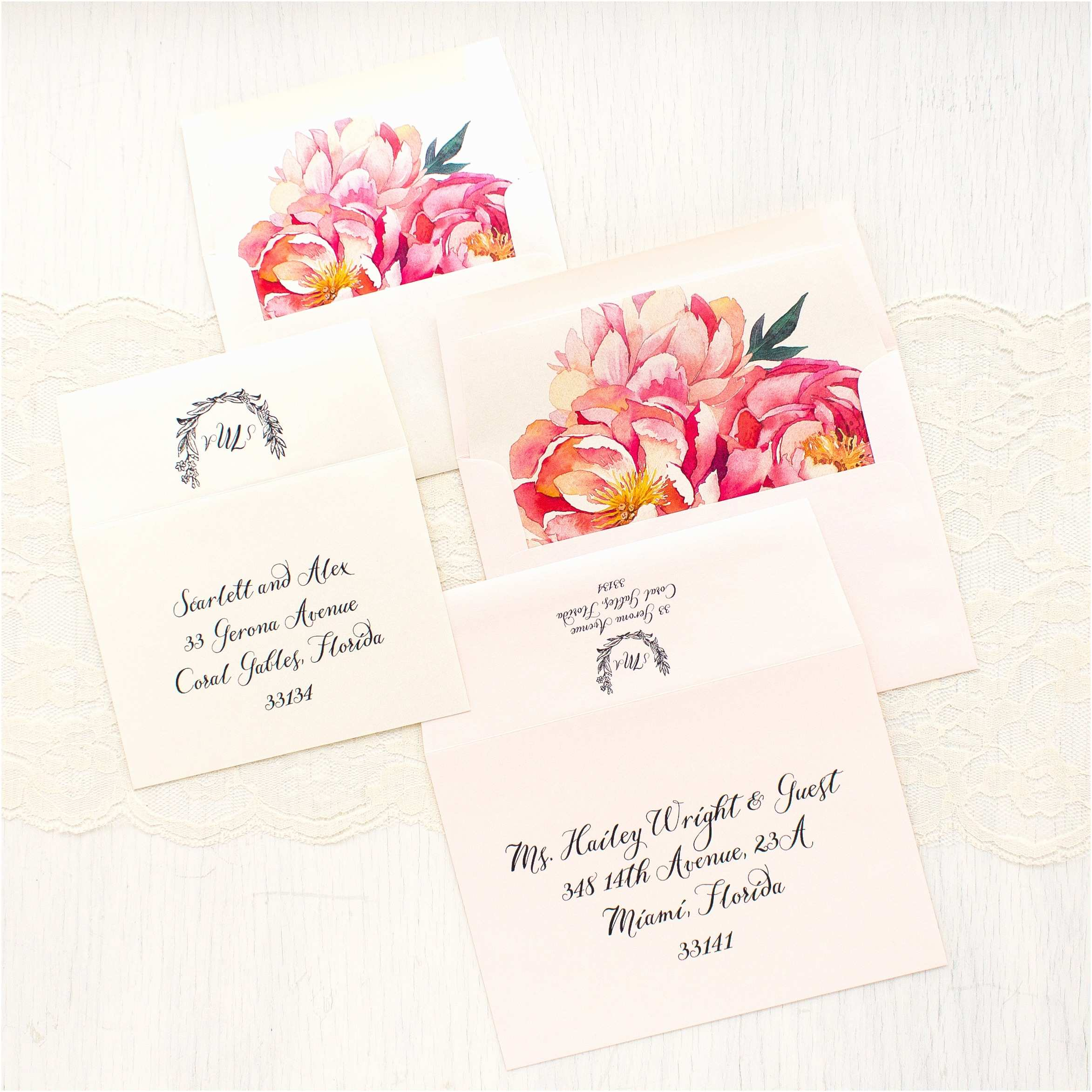 Peony Wedding Invitation Pink Peonies Wedding Invitations