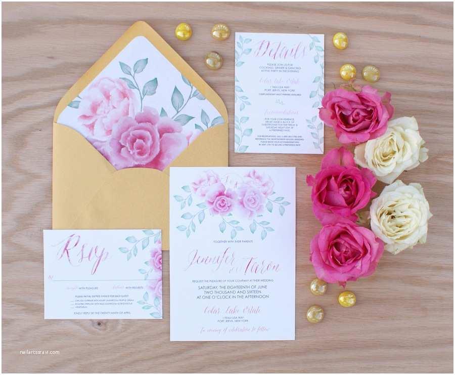 Peony Wedding Invitation Pink Peony Watercolor Wedding Invitation Bohemian Mint