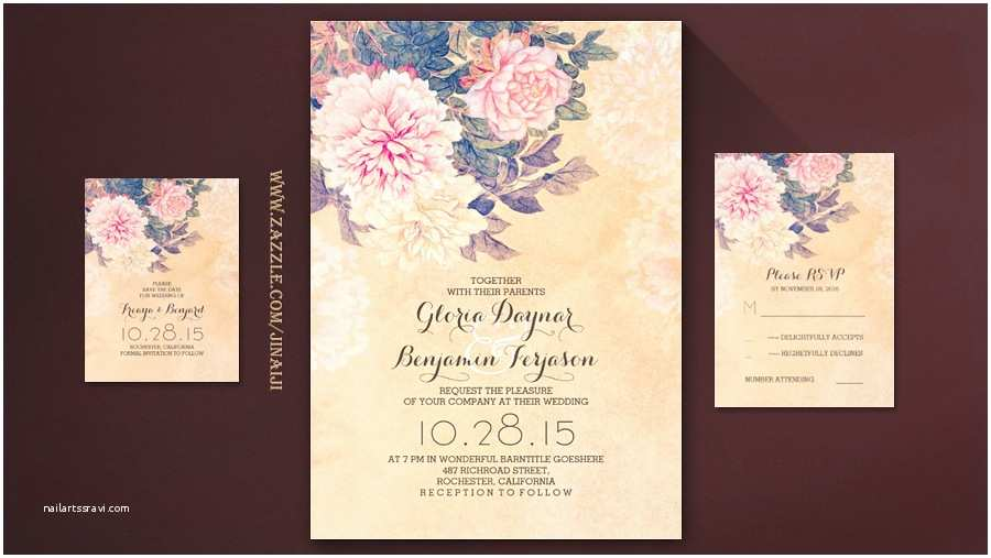 Peony Wedding Invitation Read More – Vintage Peony Flowers Wedding Invitation