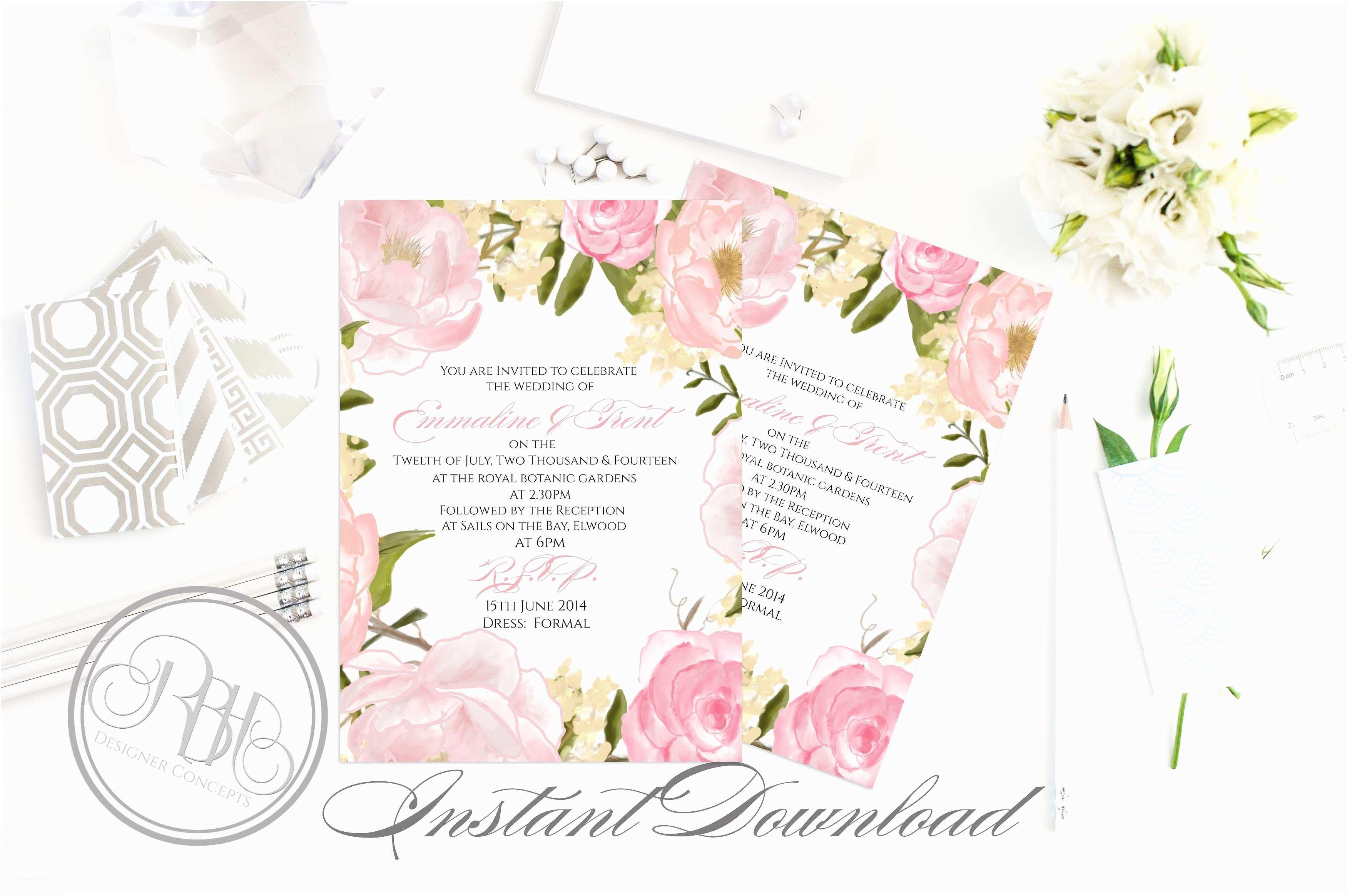 Peony Wedding Invitation Rustic Peonies Wedding Invitation Templates Creative