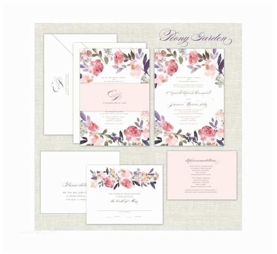 Peony Wedding Invitation Watercolor Peony Wedding Invitation Set Romantic Wedding