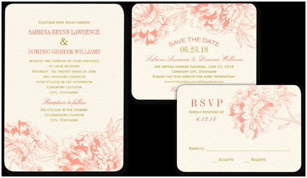 Peony Wedding Invitation Wedding Cards and Gifts Coral Floral Peony Design Wedding