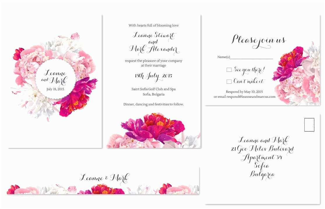 Peony Wedding Invitation White Pink and Fuschia Peonies Bouquet • Modern Wedding