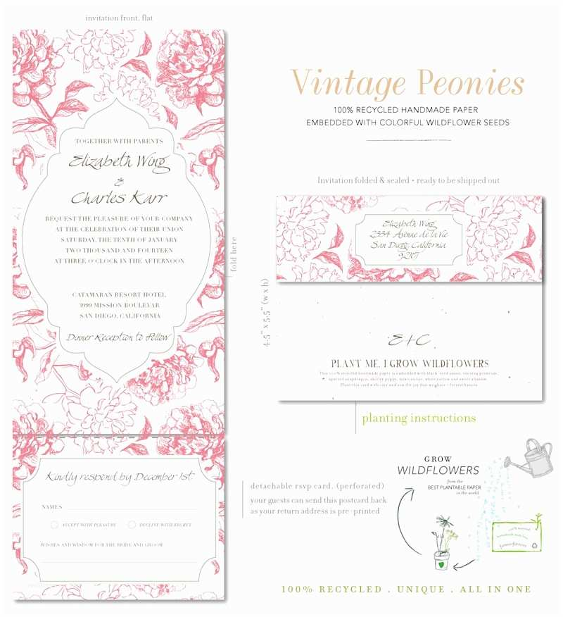 Peony Wedding Invitations All In E Wedding Invitations On Seeded Paper Vintage