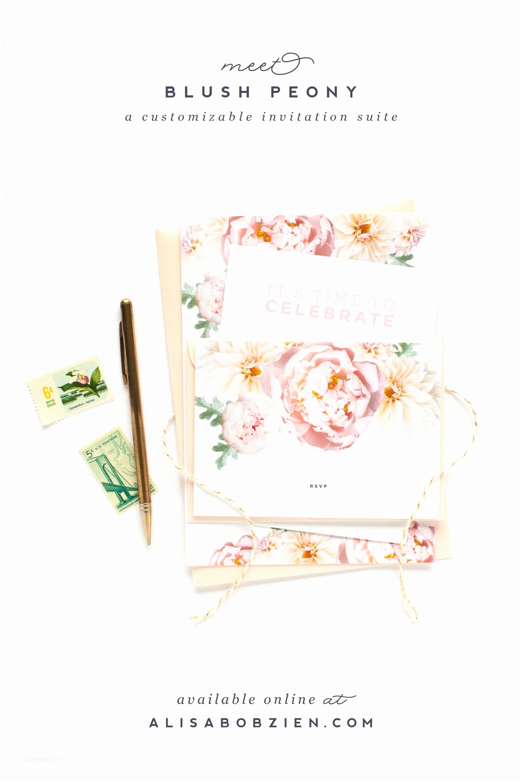 Peony Wedding Invitations Blush Peony Wedding Invitation Suite — Alisa Bobzien