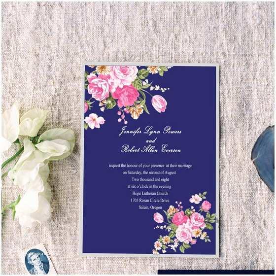 Peony Wedding Invitations Elegant Peony Navy Blue Printable Vintage Wedding