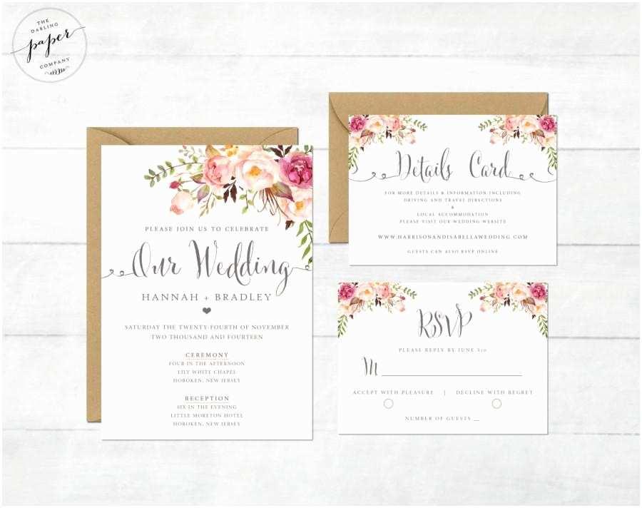 Peony Wedding Invitations Floral Wedding Invitation Printable Wedding Invitation