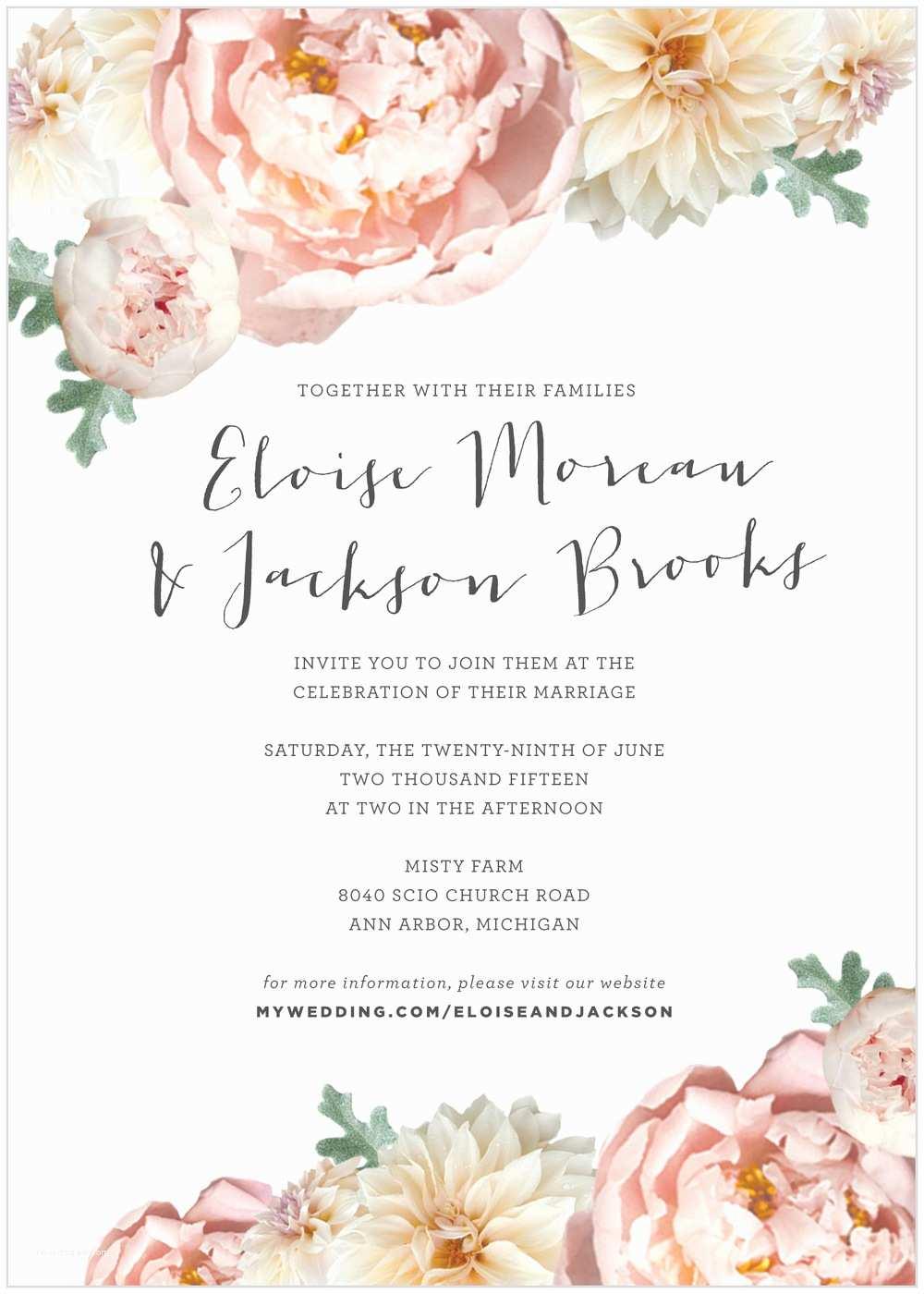 Peony Wedding Invitations Invitation Blush Peony — Alisa Bobzien Wedding