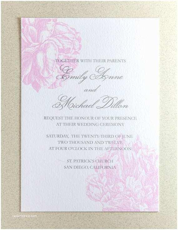 Peony Wedding Invitations Items Similar to Sample Peony Wedding Invitation On Etsy
