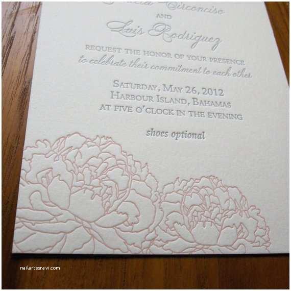 Peony Wedding Invitations Peonies Letterpress Wedding Invitation Sample