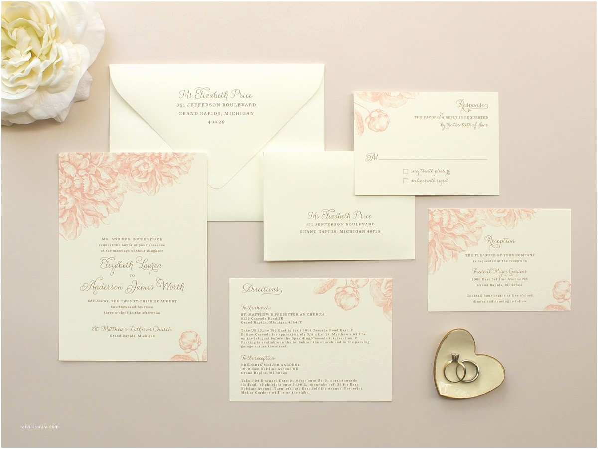 Peony Wedding Invitations Peony Wedding Invitation Romantic Wedding Invitation with