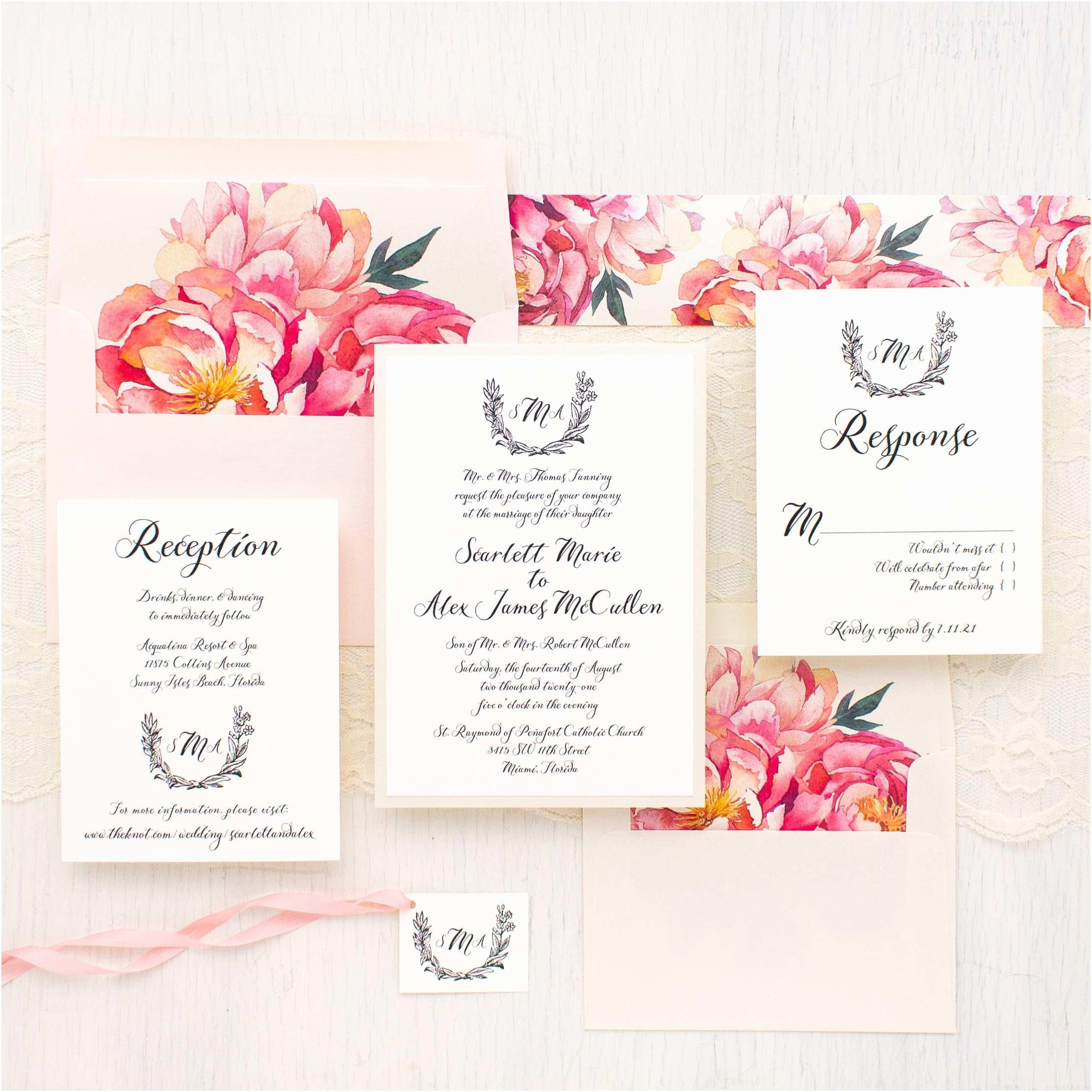Peony Wedding Invitations Pink Peonies Wedding Invitations