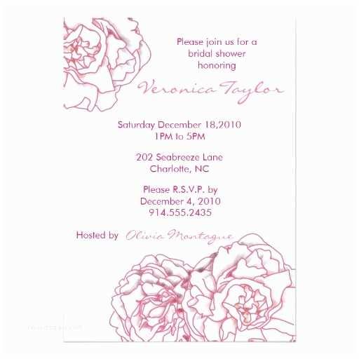 Peony Wedding Invitations Pink Peony Bridal Shower Invitation