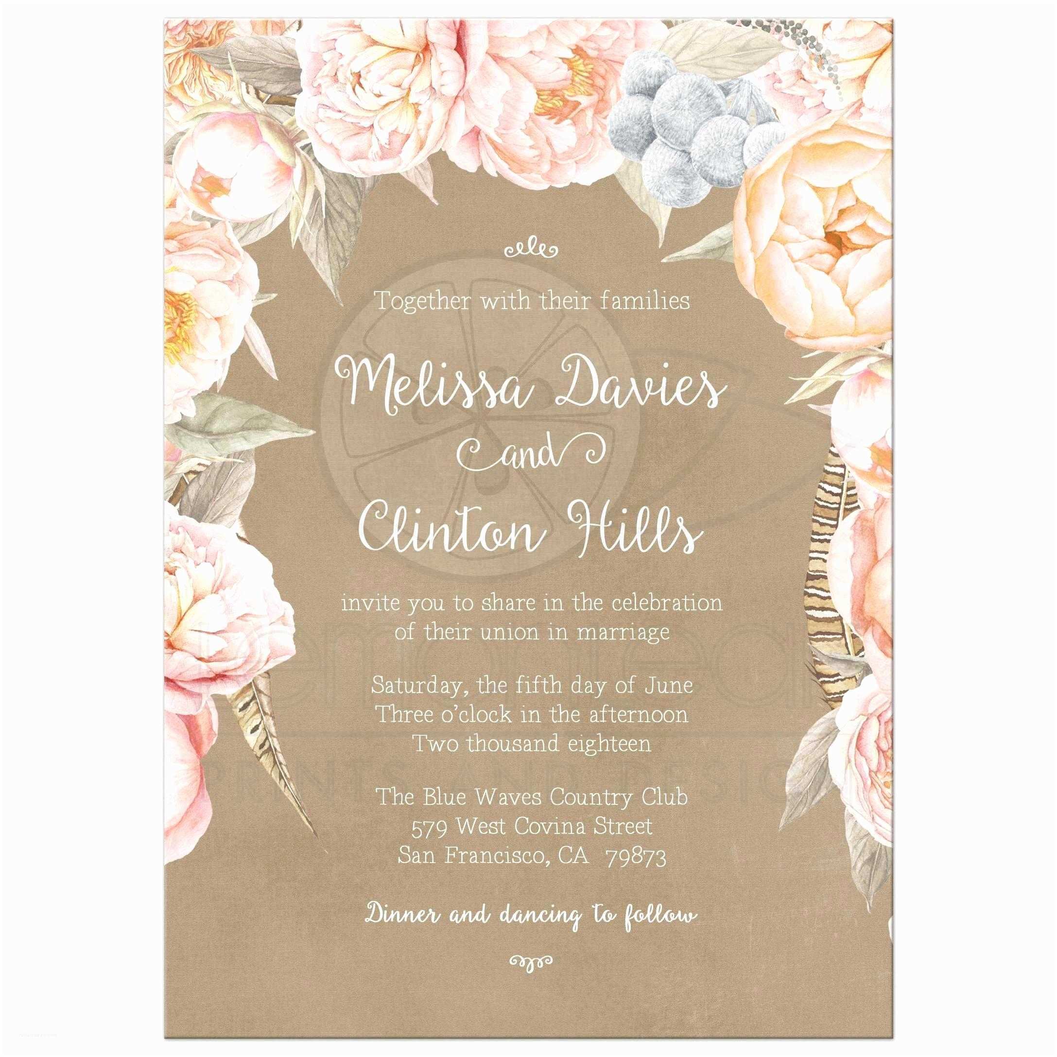 Peony Wedding Invitations Pink Vintage Floral Peony Border Wedding Invitation Kraft