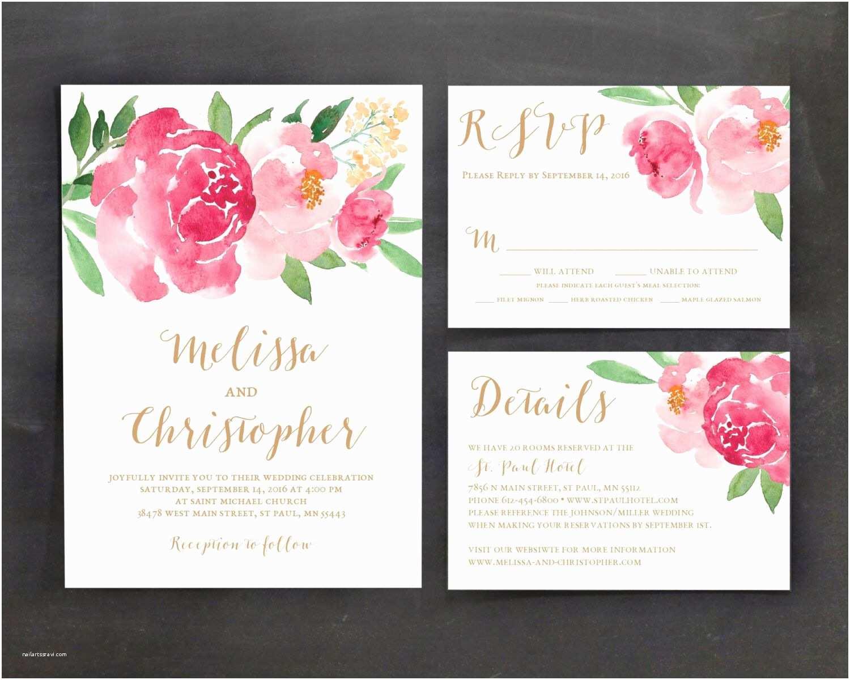 Peony Wedding Invitations Printable Wedding Invitation Template Set Floral Wedding