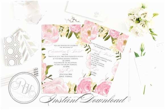 Peony Wedding Invitations Rustic Peonies Wedding Invitation Templates Creative