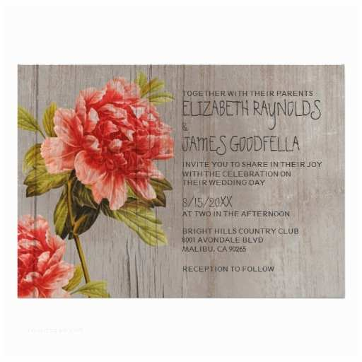 "Peony Wedding Invitations Rustic Peony Wedding Invitations 5"" X 7"" Invitation Card"