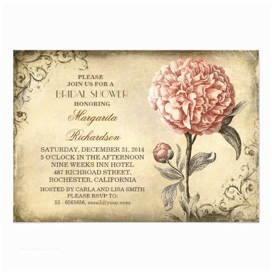 Peony Wedding Invitations Vintage Pink Peony Rustic Bridal Shower Invitation