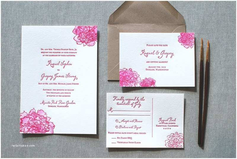 Peony Wedding Invitations Watercolor Letterpress Wedding Invitations From the