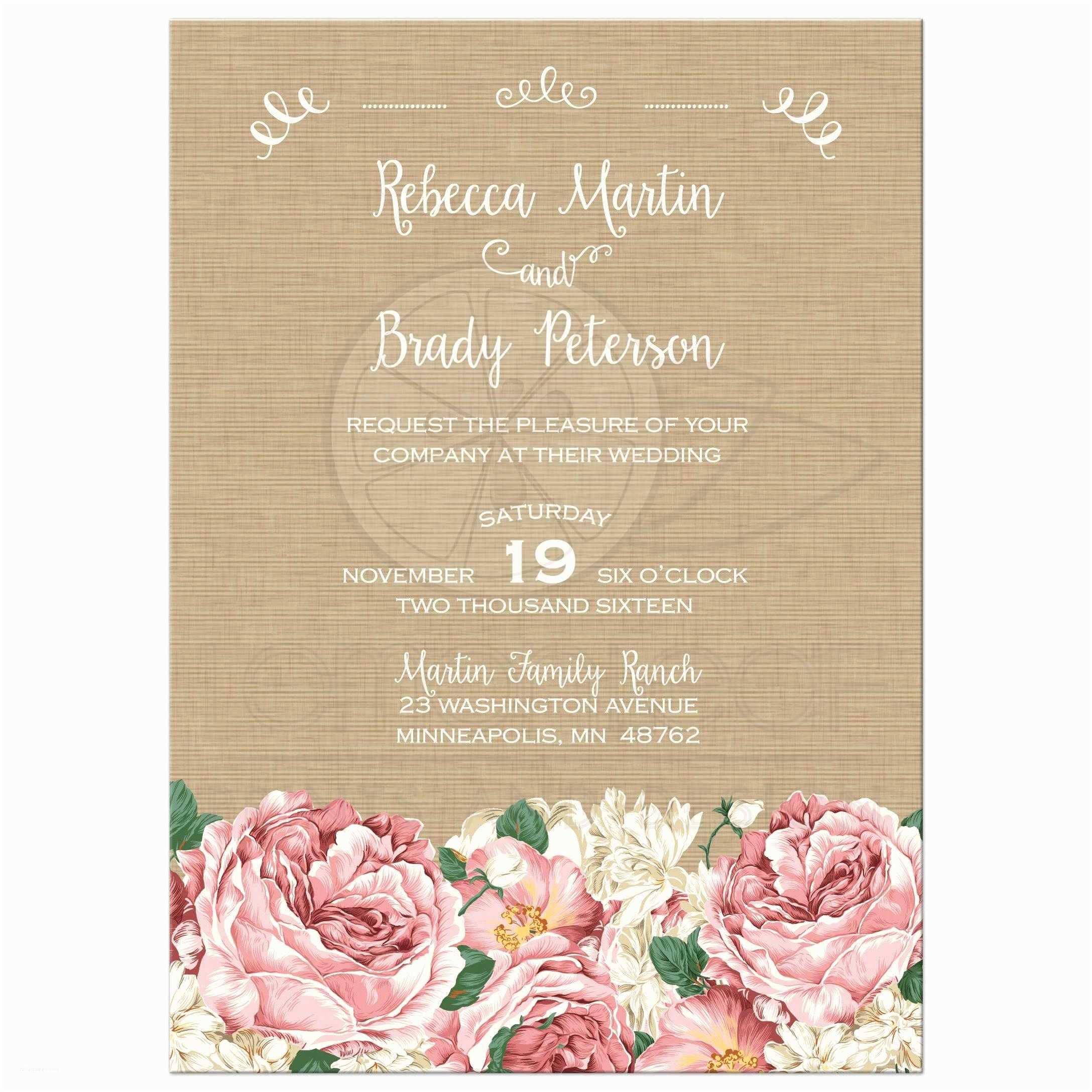 Peony Wedding Invitations Wedding Invitation Rustic Pink Peony Flowers On Canvas