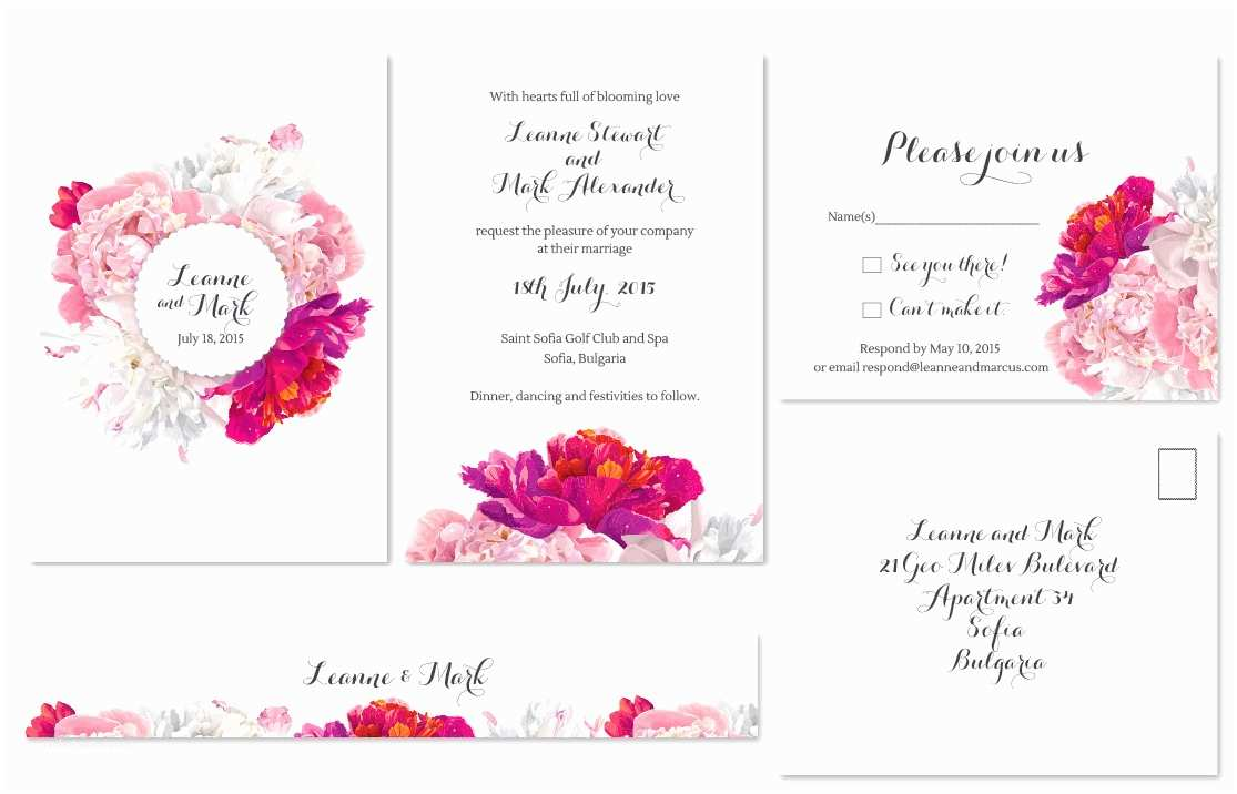 Peony Wedding Invitations White Pink and Fuschia Peonies Bouquet • Modern Wedding