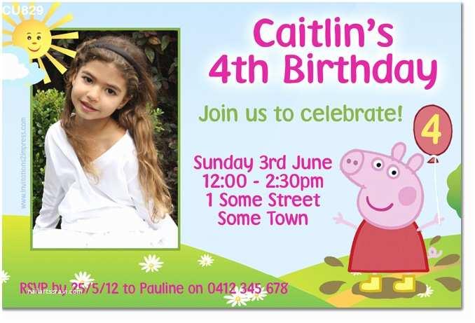 Peppa Pig Birthday Invitations Cu829 Peppa Pig Birthday Invitation Girls themed
