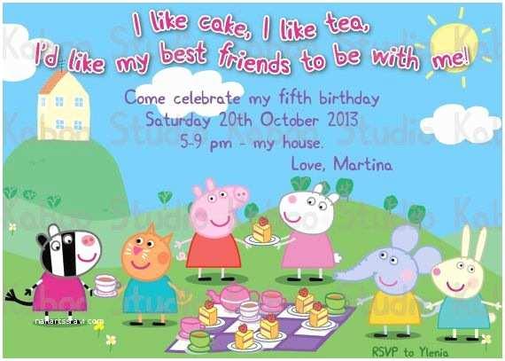 Peppa Pig Birthday Invitations Custom Invitation Peppa Pig Tea Party by Kaboostudio On
